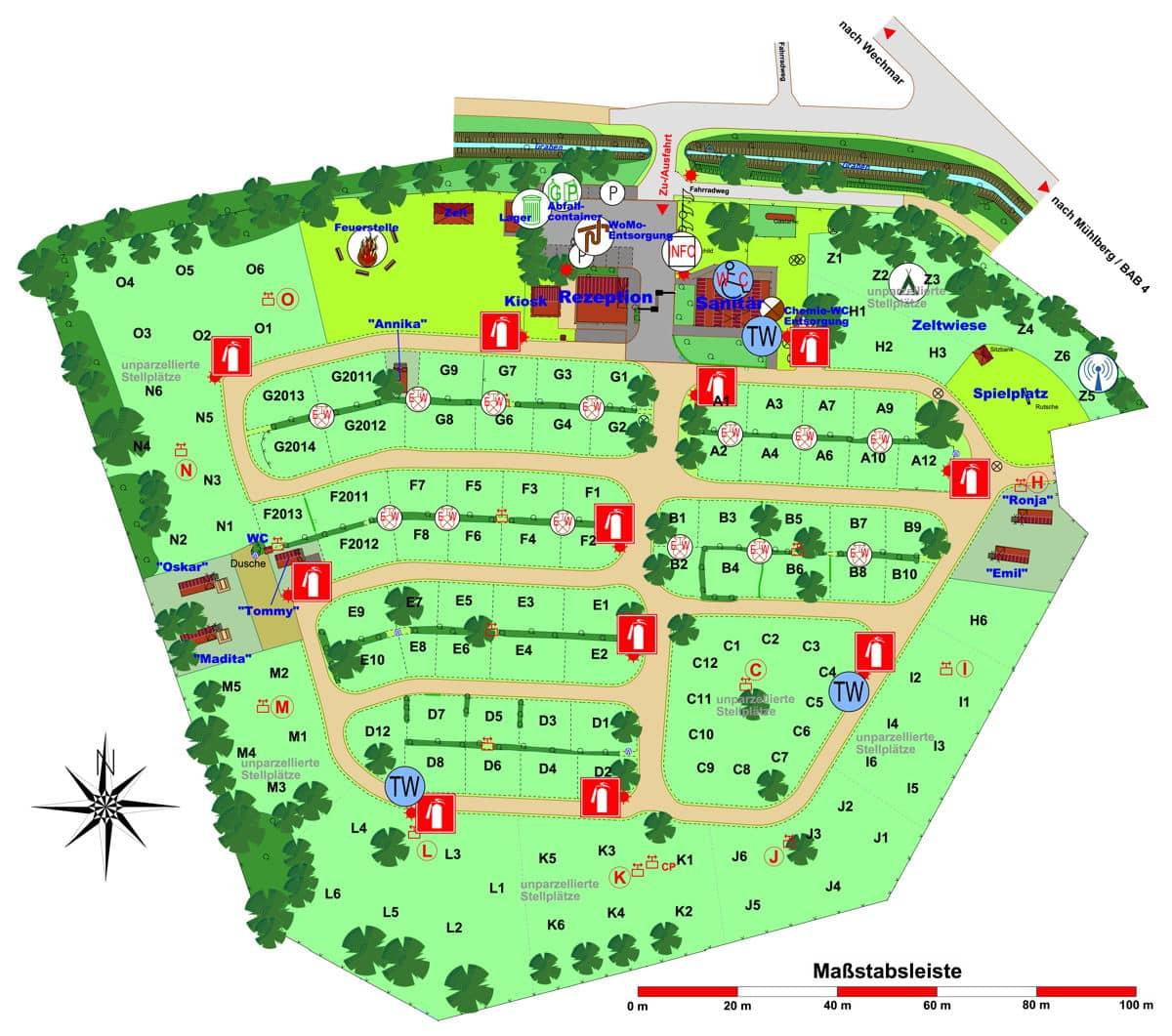 Übersichtplan des Campingplatz Drei Gleichen