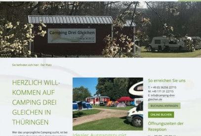 Neue Webseite Camping Drei Gleichen. Screenshot der alten Webseite.