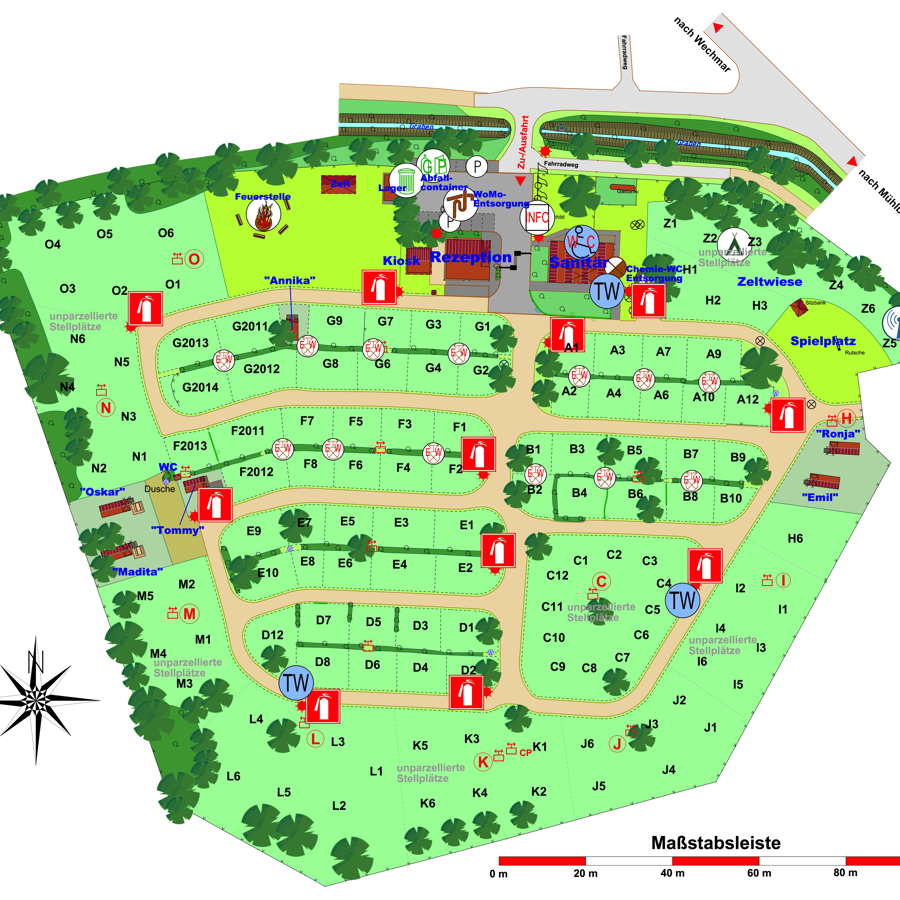 Platzplan Camping Drei Gleichen