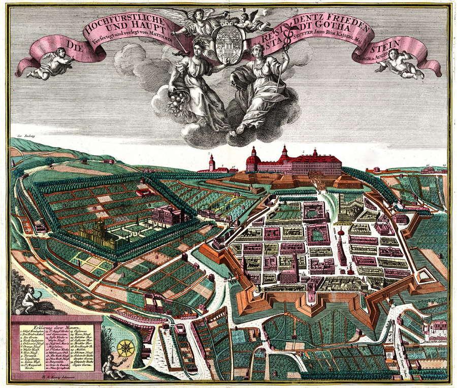 Kolorierter Kupferstich von Schloss Friedenstein