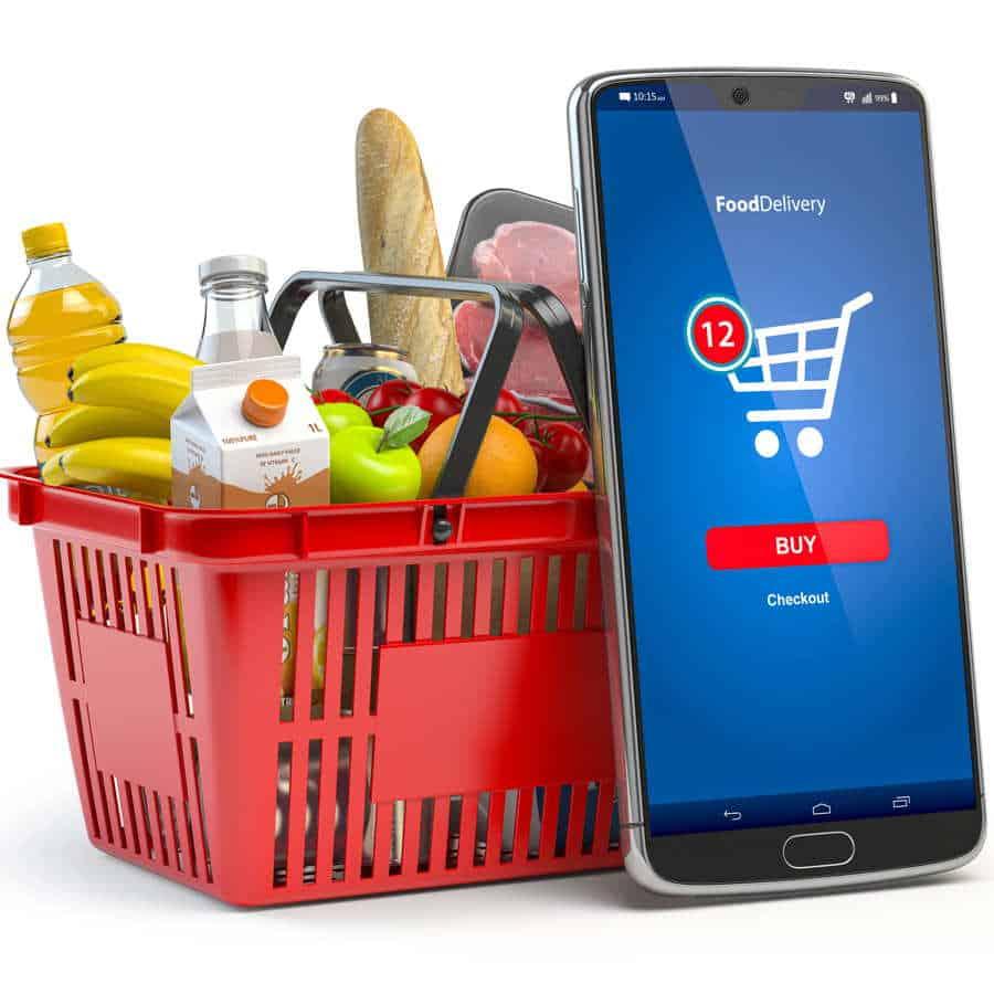 Einfach Lebensmittelbestellen und einen Warenkorb leckerer Sachen erhalten.